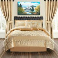 Luxury Bedspread 7 Piece Jacquard Comforter Set Double,King,Super King Golden