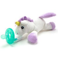 Unicorn Plush Pacifier Holder Clip & Silicone Infant Baby Paci Binky Gift Set