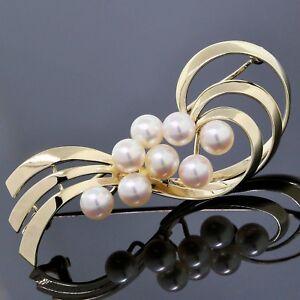 Mikimoto Brooch 14K Yellow Gold ~5.7MM White Pearl Ribbon Vintage Pin
