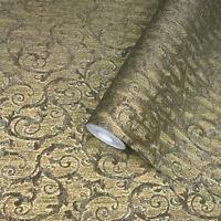 Victorian textured wall coverings modern damask bronze gold metallic wallpaper
