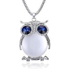 Big Eye Owl Rhinestone Crystal Long Sweater Chain Pendant Necklace Women Jewelry