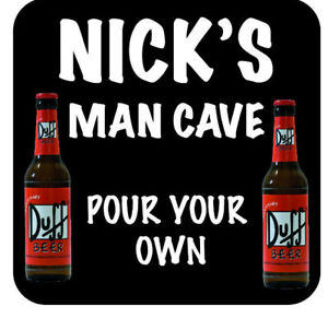 6 Personalised Novelty Beer Mat, Coasters, For Home Bar, Pub or Man Cave