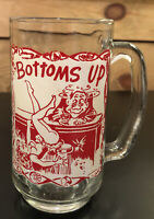 "Vintage Mid-Century 50's 60's ""Bottoms Up"" Glass Beer Bar Mug Provocative"