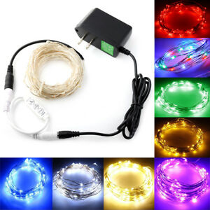 US 12V Starry Fairy Lights With Micro LED 2/5/10m Silver Wire Controller+Adapter