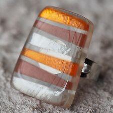 Neu RING mit CAPIZ MUSCHEL in orange/braun/silber GRÖßENVERSTELLBAR