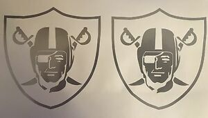 "Raiders - 2 Decals 4.5""x4.75"" Silver Vinyl Decal Sticker**FREE SHIPPING**"
