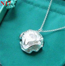 New 925 Silver Ladies Necklace Jewelry Soild Silver Rose Pendant Lover Xmas gift