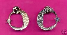 6 wholesale pewter moon star eyeglass holder pins D4116