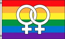 Double Venus Rainbow Flag 3x5 ft Linked Female Symbols Gay Lesbian LGBT Pride
