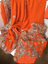 Bollywood Saree/robe/mariage formel Wear, lourd fluo orange vif cristaux