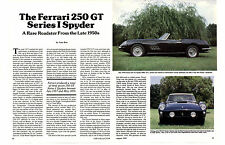 1957-1959 FERRARI 250 GT SERIES 1 SPYDER  ~  GREAT 4-PAGE ARTICLE / AD