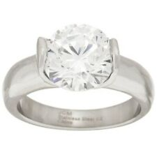 cttw Solitaire Ring Size 8 $63 Qvc Stainless Steel Cubic Zirconia 3.50