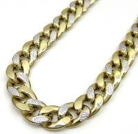 "24"" 12mm 74 Grams 10k Yellow Gold Miami Cuban Diamond Cut Chain Necklace Mens"