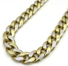 "24"" 12mm 74 Grams 10k Yellow Gold Miami Cuban Diamond Cut Chain Necklace Mens"