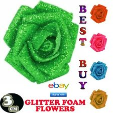 144 Full Glittered Foam Roses! Artificial Flowers Bling Glittery Shiny Fake Silk