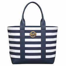 NWT MICHAEL KORS Fulton navy/white Stripe Canvas/Leather nautical TOTE Bag $198