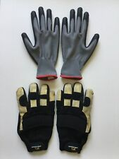 Wells Lamont Tan Heavy Duty & Gray Red Gardening Gloves 2 Pairs (4 Gloves Total)