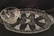 Vintage Anchor Hocking Luncheon Plate and Punch Cup Harvest Grape Pressed Clear
