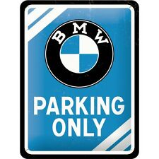 BMW Parking Only Tin Sign Shield 3D Embossed Arched Metal 5 7/8x7 7/8in