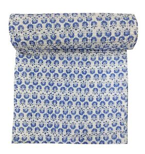 India Floral Print Kantha Quilt Handmade Queen Size Hademade Throw Blanket