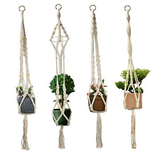 More details for set of 4 macrame plant hangers hanging flower pot wall holder with hooks m&w