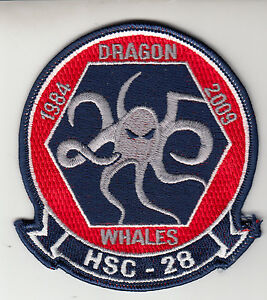 HSC-28 DRAGON WHALES 1984-2009 ANNIVERSARY COMMAND CHEST PATCH