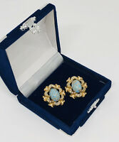 Vintage Clip On Earrings Gold Tone Turquoise Coloured Stone & Crystal Sparkly
