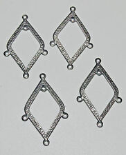 Connector pendant links 5 loops Vintage Silver Struck Vintage 6 pieces