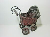 """Vintage Miniature Wicker Baby Doll Carriage Buggy Stroller 71/2"""" Tall"""