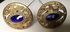 Ancienne jolie paire d'épingles a chapeau en bronze et strass, hat pin
