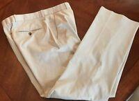 EXPRESS Producer Dress Pants Tan Beige Pinstripe Mens 31 x 32 Slacks Flat Front