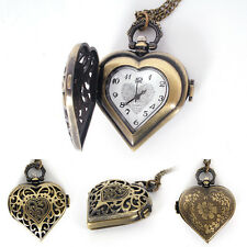 Vintage Steampunk Heart Shape Necklace Chain Pendant Retro Chic Pocket Watch