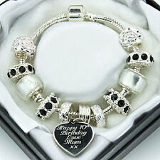 Personalised ENGRAVED Bracelet Black Clear Beads Ladies Womans JEWELLERY Gifts