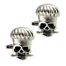 SKULL CHEF CUFFLINKS Cook Free or Die Silver Metal Skeleton Knife Kitchen Pirate
