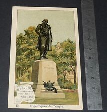 CHROMO CHOCOLAT DE ROYAT 1910-1914 STATUE BERANGER SQUARE DU TEMPLE PARIS