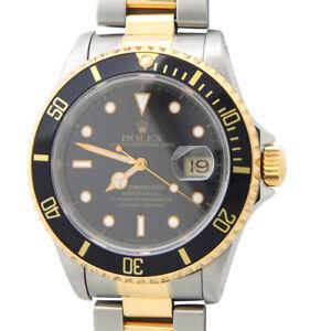 Rolex Submariner Date 16613 Mens 18K Yellow Gold Stainless Steel Watch Black Sub