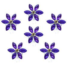 6 spirales twister cheveux coiffure mariage mariée fleur strass violet et irisé