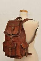 "Mens New 16"" Genuine Leather Vintage Laptop Backpack Rucksack Travel School Bag"