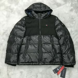 New Tommy Hilfiger Mixed Media Quilted Hooded Puffer Jacket Mens Small Black