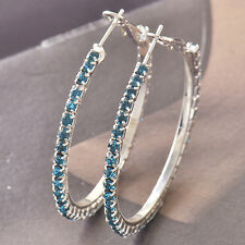 Around Blue Cubic Zirconia 9k White Gold Filled Women's Hoop Earrings F4518