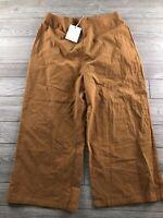 New Downeast Rust Orange Pants Flare Leg Waist Cotton Sz XL