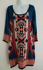 New FLYING TOMATO Boho Aztec Tribal Print Bodycon Mini Sweater Tunic Dress LARGE
