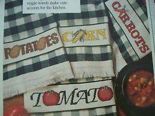 4 Vegetable Towel RIBBAND Corn Tomato OOP Magazine Cross Stitch PATTERN (P)
