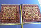 Pair Antique Arabian Rugs 2 x 2 Floral Design Hand Knotted 240 KPI Sarouk