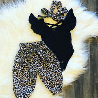 Newborn Baby Girl Leopard Print Tops Romper Pants Hat Outfit Clothes 3Pcs Set