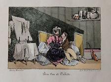 1828 Monnier Lithographie couleur époque Béranger Bon vin et Fillette Galanterie