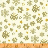 Clearance Sale~Metallic Gold Christmas Snowflakes, Sparkle Windham Cotton Fabric