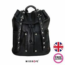 NEW BLACK FAUX LEATHER STUD BACKPACK SHOULDER SCHOOL TRAVEL RUCKSACK GIRLS BAG
