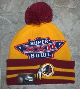 RARE ~Washington Redskins Super Bowl XXII Knit Hat New Era Stacker Pom Cap ~ NOS