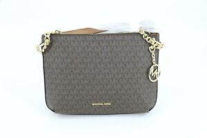 Michael Kors Lillie Leather Large Messenger Bag Purse Brown Acorn Gold